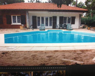 piscine, maison, jardin