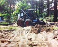 tracteur, chantier, piscine