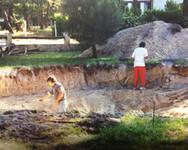 chantier, piscine, construction